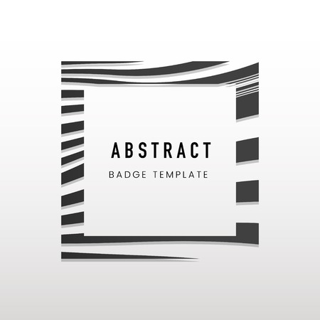 Square black and white abstract badge vector