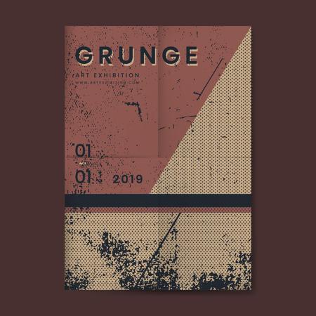 Grunge merlot red distressed textured poster