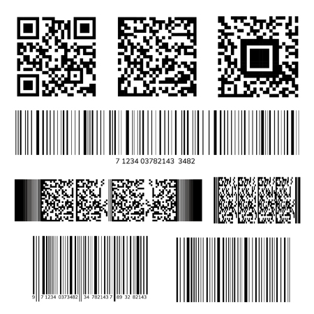 Barcode and QR code vector set