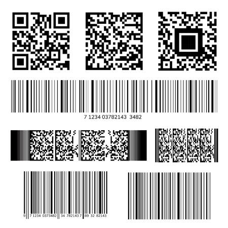Zestaw wektorów kodów kreskowych i kodów QR Ilustracje wektorowe