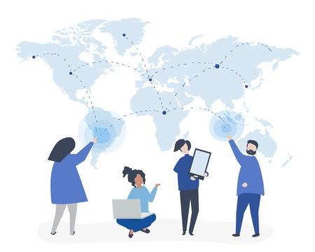 Ilustracja postaci ludzi z koncepcją globalnej sieci