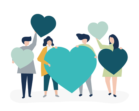 Characters of people holding heart shapes illustration Illustration