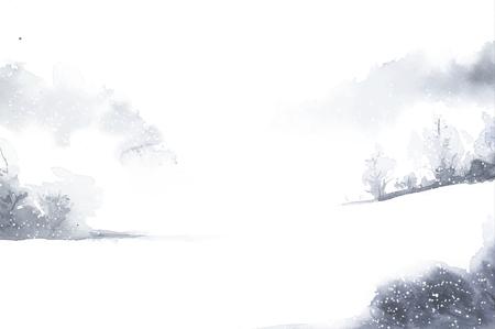 Watercolor winter scene 向量圖像