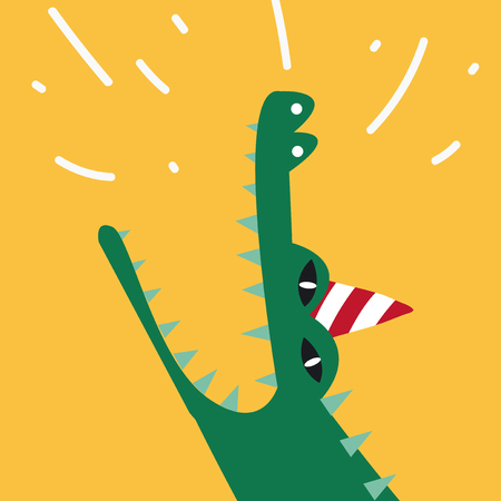 Aquatic cartoon crocodile wearing a party hat vector