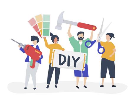 Charakterillustration des DIY-Heimwerkerkonzepts Vektorgrafik