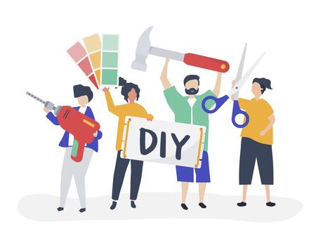 Character illustration of DIY home improvement concept Illustration