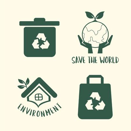 Environment conservation symbol set illustration Imagens - 126452960