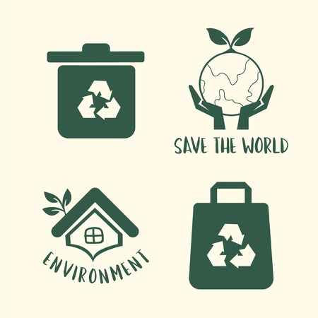 Environment conservation symbol set illustration