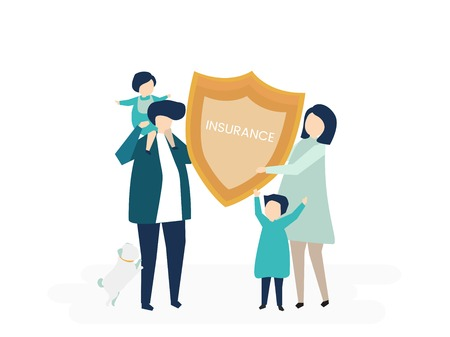 Character of a family holding an insurance illustration