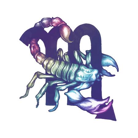 Símbolo del horóscopo dibujado a mano de la ilustración de Escorpio