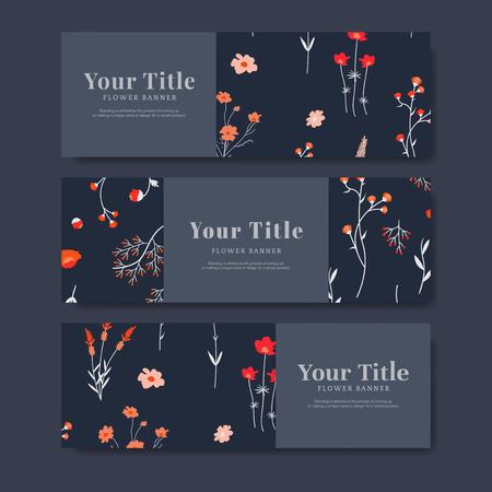 Set of flower banner vector Illustration