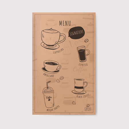 Coffee shop and cafe menu vector