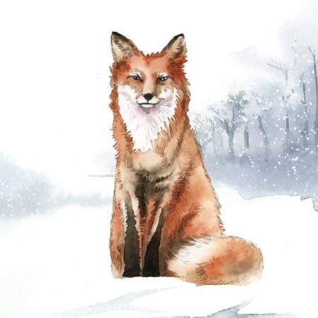 Watercolor fox in a winter scene Иллюстрация