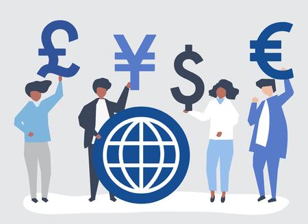 Persone che portano un segno di valuta diverso Vettoriali