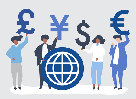 People carrying different currency sign