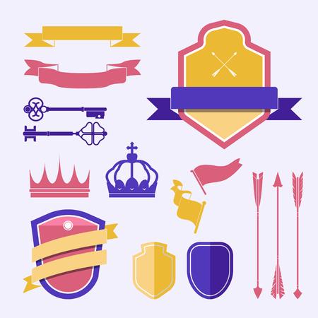 Set of colorful label ornament vectors Ilustracja