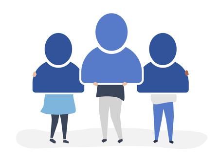 Illustration de caractère de personnes détenant des icônes de compte d'utilisateur