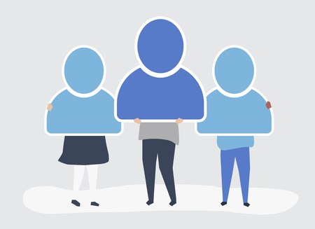 Character illustration of people holding user account icons