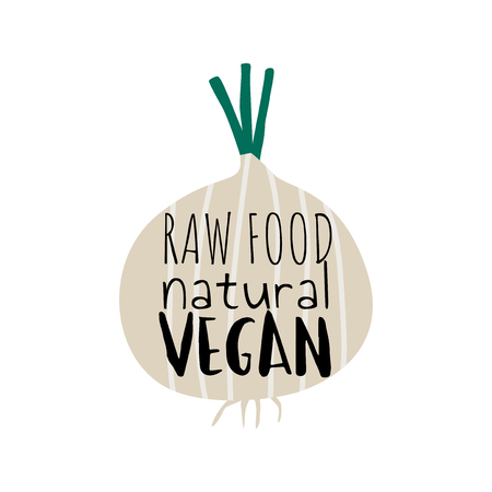 Raw food natural vegan on an onion vector Illustration