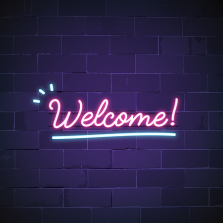 Welcome in neon sign vector Stok Fotoğraf - 126452995