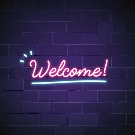Welkom in neonreclame vector