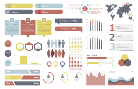 Set of business infograph vectors Vettoriali