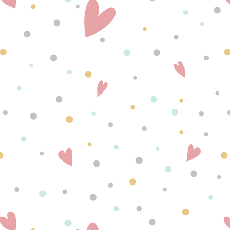 Colorful polka dots with hearts vector Illustration