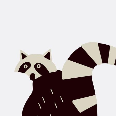 Smart wildlife raccoon vector graphics 일러스트