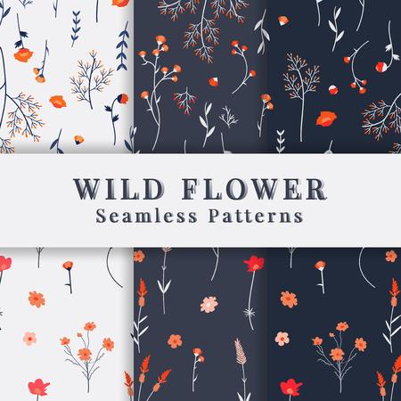 Wild flower seamless pattern vector Illustration