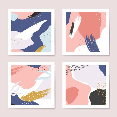 Conjunto de vector de fondos coloridos estilo Memphis Ilustración de vector