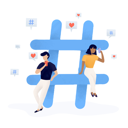 Users with a hashtag vector Illustration