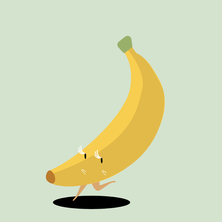 Yellow ripe banana cartoon character vector Vettoriali
