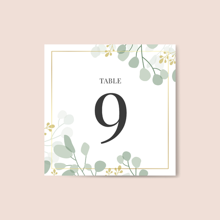 Table number 9 card vector
