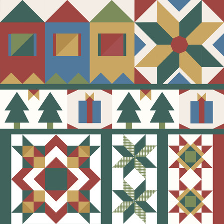 Colorful Christmas tiles geometrical design vector