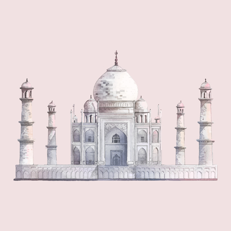 The Taj Mahal in Agra, India watercolor illustration