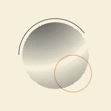 Black vintage halftone badge on beige background vector Çizim