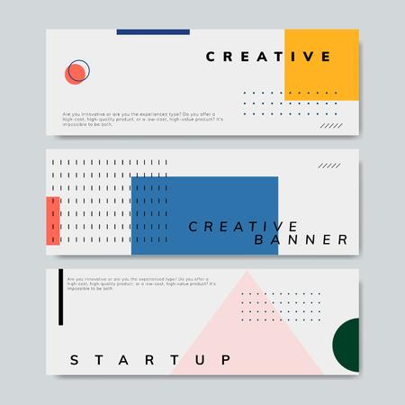 Set of minimal Memphis design start-up banner vector