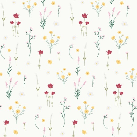 Wild flower seamless pattern vector Vettoriali