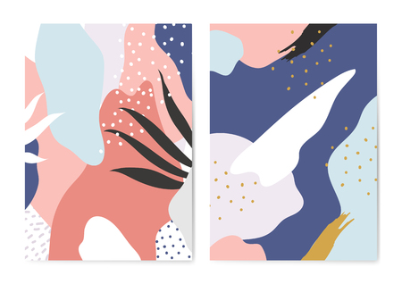 Set of colorful Memphis style backgrounds vector Standard-Bild - 126453039