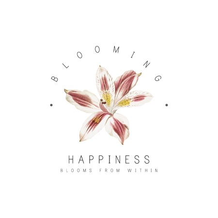 Happiness blooms from within with lily flower vector Zdjęcie Seryjne - 114601008