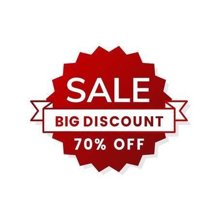 Big discount 70% off shop promotion advertisement badge vector Çizim