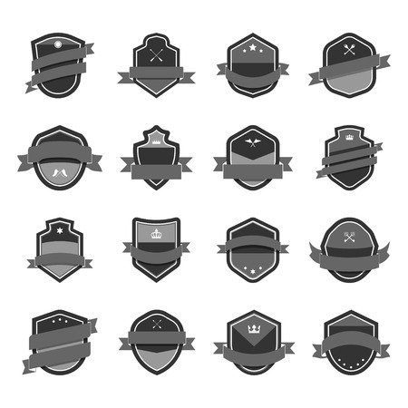 Gray shield icon embellished with banner vectors