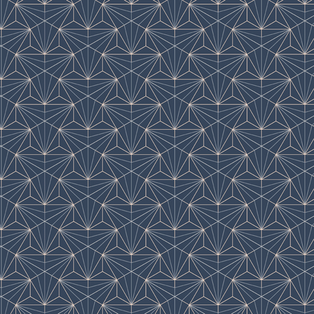 White geometric seamless patterns set on a blue background Illustration