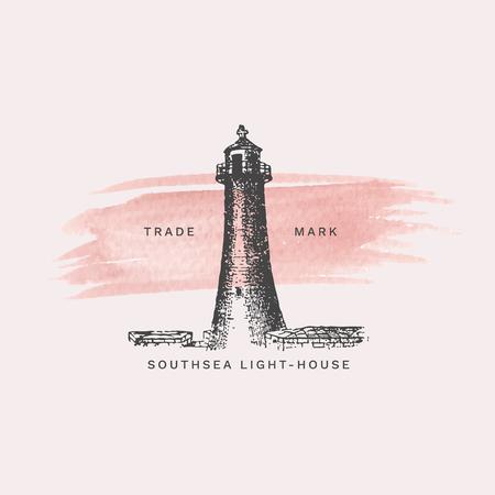 Vintage light house illustration