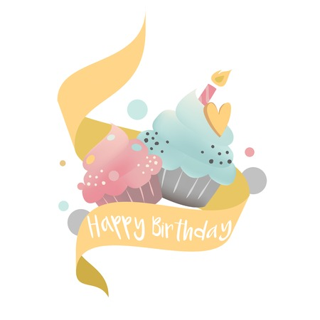 Colorful cupcake vector with a candle Standard-Bild - 126453050