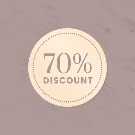 70% discount shop sale promotion advertisement badge vector Standard-Bild - 126453051