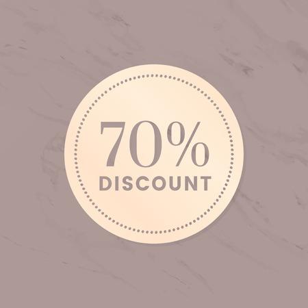 70% discount shop sale promotion advertisement badge vector Çizim