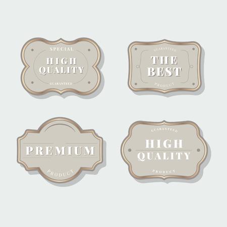 Beige vintage premium badge vectors Ilustracja