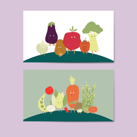 Various vegetable cartoon characters vector set Standard-Bild - 126453053