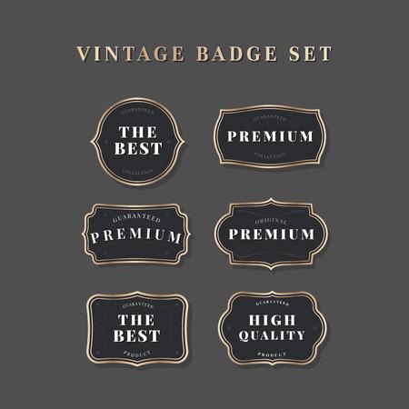 Black vintage premium badge vectors
